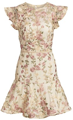 ML Monique Lhuillier Embroidered Floral Overlay Cocktail Dress