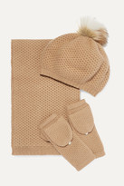 Portolano Faux Fur-trimmed Waffle-knit Cashmere Hat, Scarf And Gloves Set - Camel