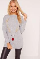 Missguided Reindeer Christmas Sweater Grey