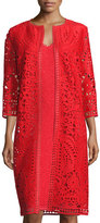 St. John Embroidered-Trim 3/4-Sleeve Topper, Red