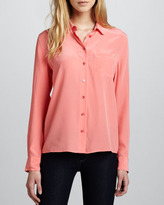 Equipment Brett Long-Sleeve Blouse, Coral
