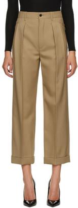 Saint Laurent Beige Gabardine Pleated Trousers