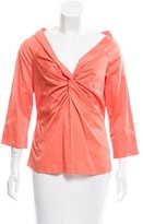 Magaschoni twist-Accented Three-Quarter Sleeve Top