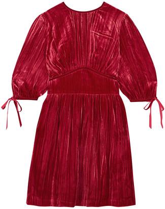 ALEXACHUNG Pleated Velvet Mini Dress