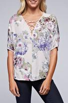 Love Stitch Floral Lace-Up Top