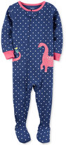 Carter's 1-Pc. Dot-Print Dinosaur Footed Pajamas, Baby Girls (0-24 months)