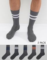 Asos Tube Style Socks in Gray Marl 5 Pack