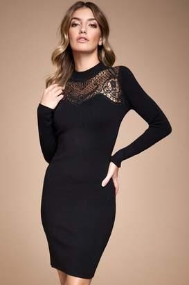 Lipsy Lace Yolk Bodycon Dress - 16 - Black