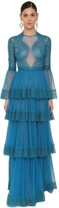 ZUHAIR MURAD Long Ruffled Lace & Tulle Dress