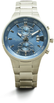 Kenneth Cole Silvertone With Blue Dial Chronograph Link Watch