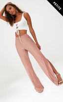 PrettyLittleThing Petite Pink Pleated Split Wide Leg Trousers
