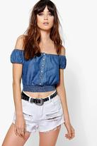 Boohoo Eve Button Front Off The Shoulder Denim Gypsy Top
