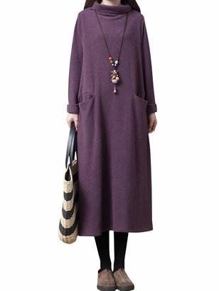 Romacci Women High Cowl Neck Long Dress Side Pockets Splits Knee Length Loose Vintage One-Piece Blue