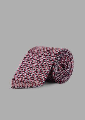 Giorgio Armani Silk Tie With Jacquard Logo Pattern
