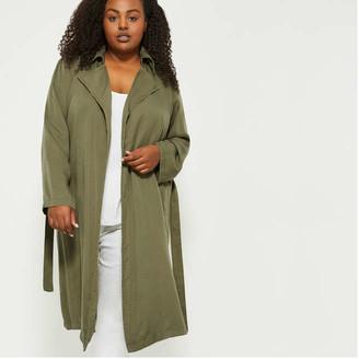 Joe Fresh Women+ Duster Coat, Olive (Size 3X)