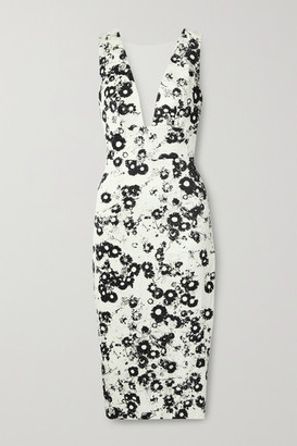 Monique Lhuillier Tulle-trimmed Floral-print Cotton-blend Jacquard Midi Dress - White