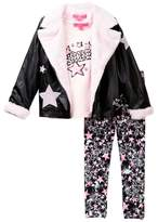 Betsey Johnson Star Tee, Faux Fur Trimmed Moto Jacket & Star Print Legging Set (Little Girls)