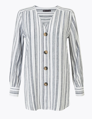 Marks and Spencer Linen Striped Longline Blouse