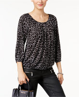 MICHAEL Michael Kors Plaid Leopard-Print Peasant Top, Created for Macy's