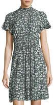 Rebecca Taylor Capucine Mock-Neck Smocked Floral-Print Silk Dress