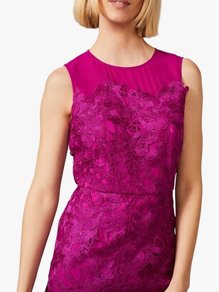 Phase Eight Bessie Lace Maxi Dress, Fuchsia