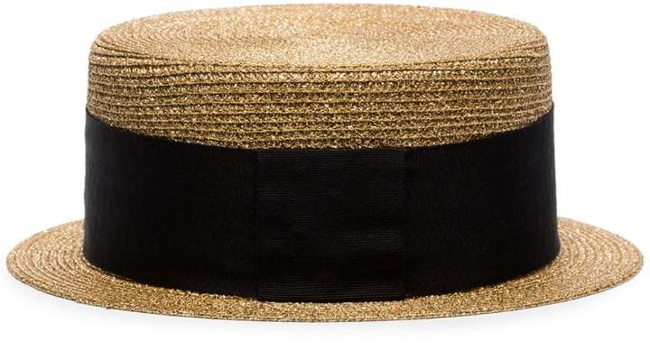 1f9be49b Black Straw Boater Hat - ShopStyle