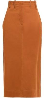 Alberta Ferretti Lace-up Cotton-blend Twill Midi Skirt