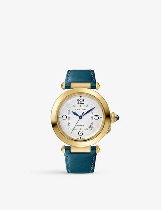 Cartier Pasha de 18ct yellow-gold, sapphire and leather interchangeable strap automatic watch