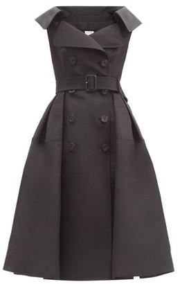 Alexander McQueen Open-collar Silk-faille Trench Midi Dress - Black