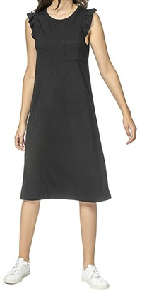 Lilla P Ruffle Sleeve Pocket Dress in Flame Modal (Black) Women's Clothing