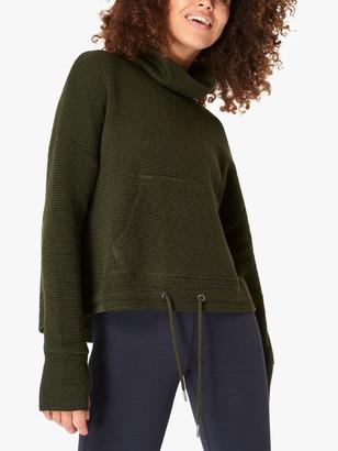Sweaty Betty Restful Boucle Sweatshirt, Olive Green