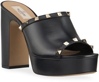 Valentino 115mm Rockstud Mule Heel Sandals