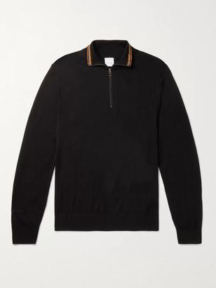Paul Smith Stripe-Trimmed Merino Wool Half-Zip Sweater