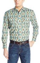 Wrangler Men's Checotah Western Stripe Long Sleeve Tan/Blue Shirt