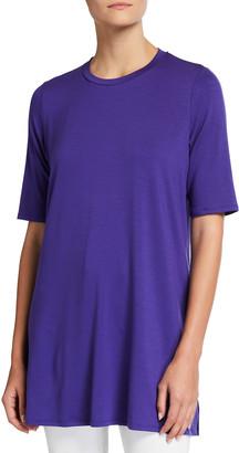 Eileen Fisher Short-Sleeve Round-Neck Fine Jersey Tunic