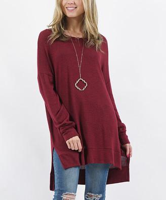 Lydiane Women's Pullover Sweaters DK - Dark Burgundy Crewneck Thermal Side Snap Button Tunic - Women & Plus