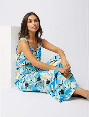 George Blue Scene Print Jersey Maxi Dress