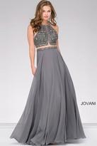 Jovani Embellished Open Back Chiffon Dress 46676