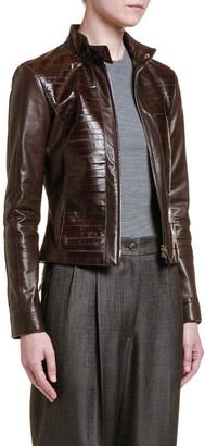 Giorgio Armani Leather & Eel Skin Moto Jacket