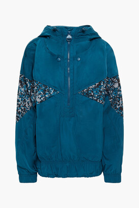 adidas by Stella McCartney Light Paneled Printed Shell Hooded Track Jacket
