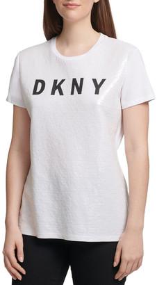 DKNY Short Sleeve Crew Neck Sequin Logo Tee