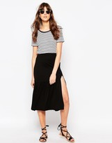 Asos Midi Skirt with Tiered Hem and Splice