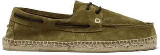 Manebi Hamptons Green Suede Boat Shoes - Mens - Khaki