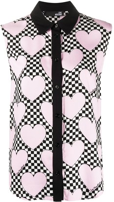 Love Moschino heart print sleeveless blouse