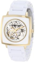 BCBGMAXAZRIA Women's BG8294 Elite Sport Auto Square Automatic Yellow Gold Bracelet Watch