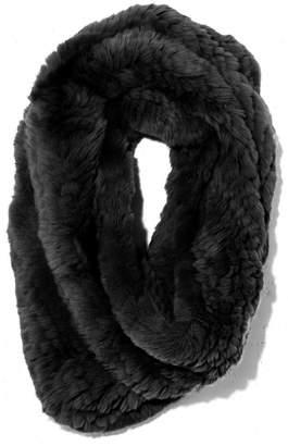 Yves Salomon Knitted Rabbit Snood in Noir