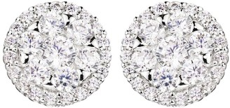 The Love Silver Collection Sterling Silver Cubic Zirconia Cluster Round Stud Earrings and Pendant Set