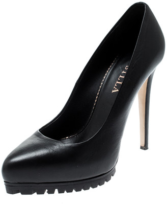 Le Silla Black Leather Platform Pumps Size 36