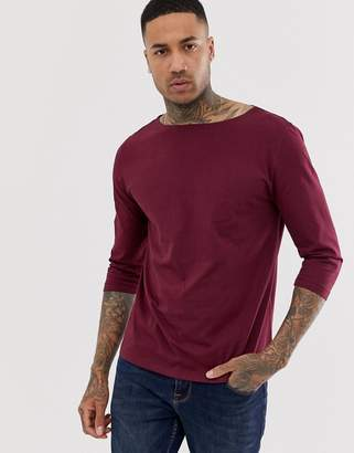 Asos Design DESIGN relaxed 3/4 sleeve t-shirt with boat neck in red