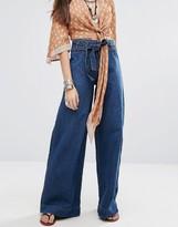 Free People Augusta Wide Leg Denim Tie Waist Jeans